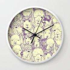 just alpacas purple cream Wall Clock