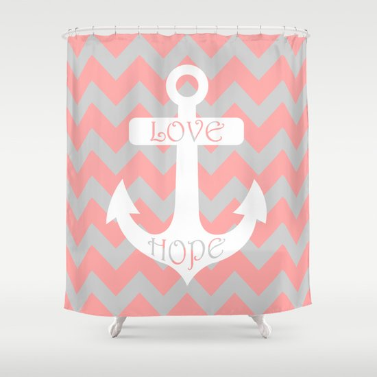 Anchor Chevron Gray Coral Pink Shower Curtain By Beautiful Homes Society6