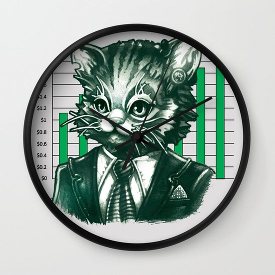 Blue Tooth Cat Deals in Trillions Wall Clock