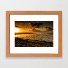 Surfer Sunrise Framed Art Print