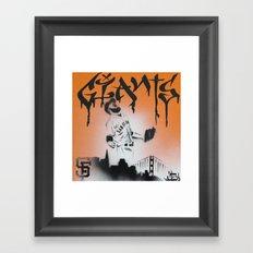 SF Giants Sergio Romo stencil painting print Framed Art Print