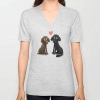 Cute Dog Illustration- Poodles Unisex V-Neck