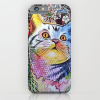 iPhone & iPod Case featuring Chloe ... Abstract cat art by Amy Giacomelli