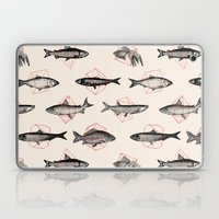 Fishes In Geometrics (Red) Laptop & iPad Skin