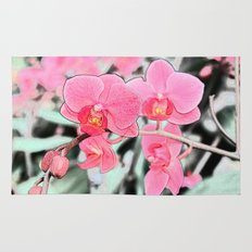 Lovely pink orchid flower color pencil sketch. floral photo art. Rug