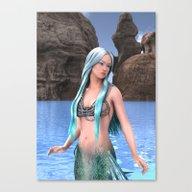 Fantasy Mermaid On Ocean… Canvas Print
