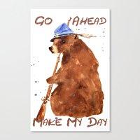 Bear painting, bear illustration, humor, animal art, hunter gift Canvas Print