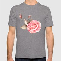 Watercolor rose Mens Fitted Tee Tri-Grey SMALL