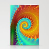 Toothed Spiral In Turquo… Stationery Cards