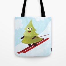 Happy Pine Tree on Ski Tote Bag