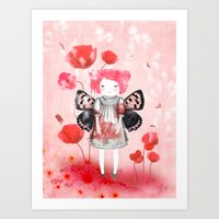 Lady Butterfly In Love Art Print