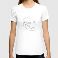 One line Iron Man Womens Fitted Tee White SMALL