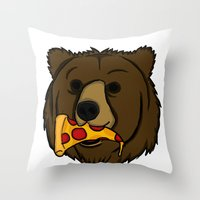 Grizzly Bear With Pizza Throw Pillow