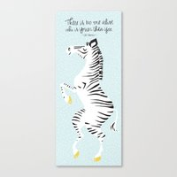 Blue Zebra (Dr. Seuss quote) Right Canvas Print