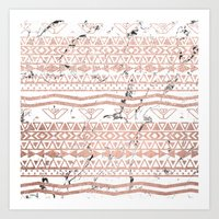 Modern rose gold blush aztec on white marble Art Print