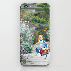 Alice and the White Rabbit in the Garden iPhone 6 Slim Case