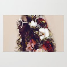 The girl with the flowers in her hair Rug