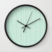 Herringbone Mint Inverse Wall Clock