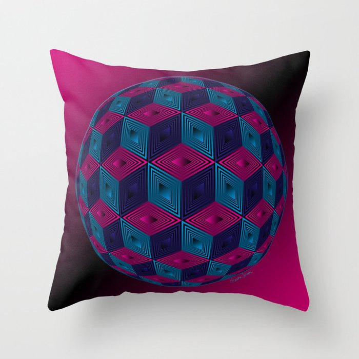 Blue And Pink Decorative Pillows : Spherized Pink, Purple, Blue and Black Hexa Throw Pillow by Artsytoocreations Society6