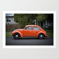 bright orange beetle (Curbside VW photo series) Art Print