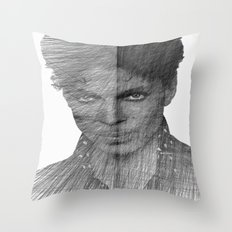 Prince - Immortal Tribute Sketch in Black and White Throw Pillow