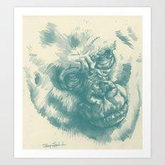 Gorilla Sketch in blue Art Print