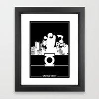Green Lantern Silhouette Black & White Framed Art Print