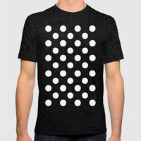 Polka Dots (White/Aqua Cyan) Mens Fitted Tee Tri-Black SMALL