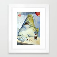 Fish Walks Into A Sushi … Framed Art Print