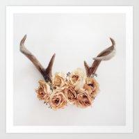 Floral Antlers I Art Print