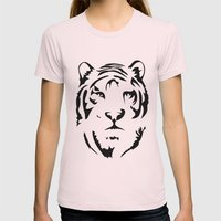 Minimalistic Tiger Face Womens Fitted Tee Light Pink SMALL