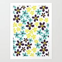 Yellow And Blue Flower Art Print