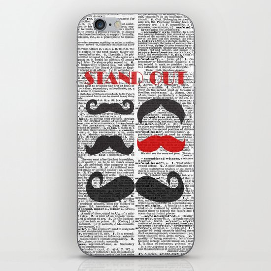 """""""Stand Out Mustache"""" Dictionary Page – Original Digital Art Print iPhone & iPod Skin"""