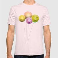 Happy Balloons Mens Fitted Tee Light Pink SMALL