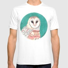 barn owl Mens Fitted Tee White SMALL