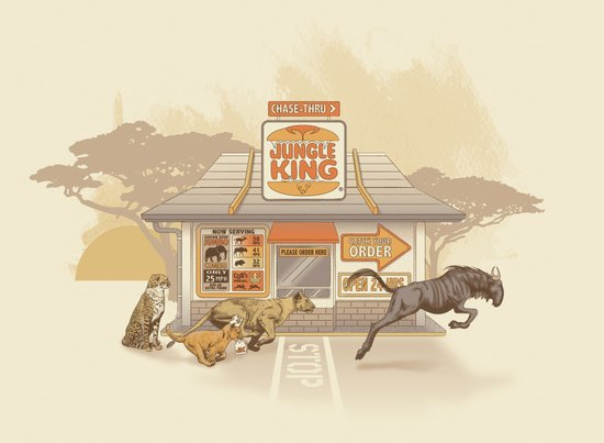 Fast Food (Jungle King) Art Print