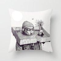 kid please draw me a house Throw Pillow