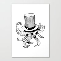 Squid is lost in hat Canvas Print