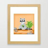 Woodland Animals Serie I. Raccoon Framed Art Print