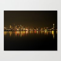 Seattle Skyline Night Canvas Print