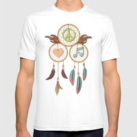 Peace, Love and Music Mens Fitted Tee White SMALL