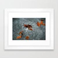 Autumn Leaves on Ice Framed Art Print