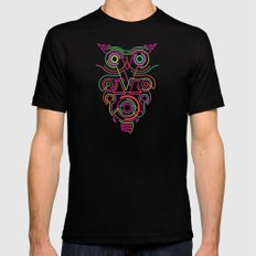 owl pink SMALL Mens Fitted Tee Black