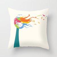 Birds Color Throw Pillow
