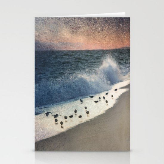 Piping Plovers and Peach and Blue Sunset  Stationery Card