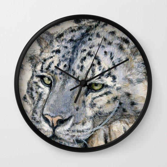Snow Leopard Resting 778 Wall Clock