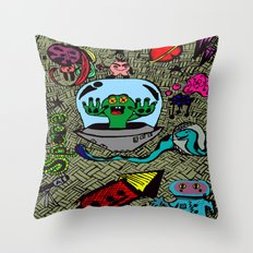 Aliens in Space Throw Pillow