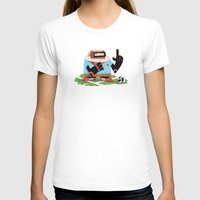 Wooden Robot Valentine Womens Fitted Tee White SMALL