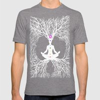 Tree Of Life White Mens Fitted Tee Tri-Grey SMALL