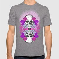 Flowers Skull Mens Fitted Tee Tri-Grey SMALL